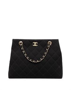 Стеганая сумка тоут 1998 го года с логотипом CC Chanel pre-owned