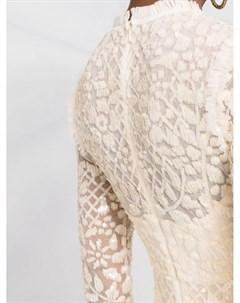 Платье с прозрачными рукавами и пайетками Needle & thread