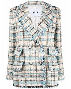 Твидовый пиджак в клетку Msgm