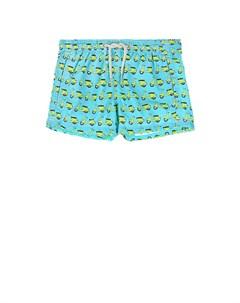 Голубые шорты для купания с принтом мотороллеры детские Saint barth