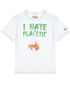 Белая футболка с принтом I hate plastic детская Saint barth