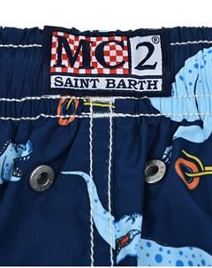 Синие шорты для купания с принтом динозавры детские Saint barth