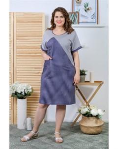 Платье трикотажное Модести синее Инсантрик