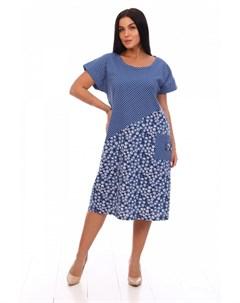 Платье трикотажное Фрезия синее Инсантрик