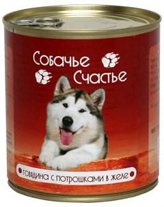 Для взрослых собак с говядиной и потрошками в желе 410 гр х 20 шт Собачье счастье