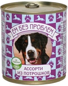 Зооменю для взрослых собак с ассорти из потрошков 750 гр х 9 шт Ем без проблем