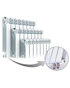 Радиатор биметаллический Base 350 Ventil 9 секций нижнее подключение слева белый Rifar