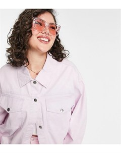 Сиреневая oversized куртка с эффектом кислотной стирки ASOS DESIGN Curve Asos curve