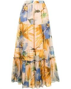Ярусная юбка макси с цветочным принтом Twinset