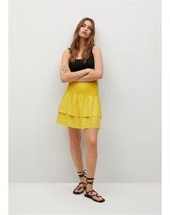 Льняная юбка с воланами Laci Mango