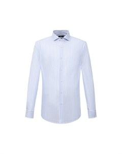 Рубашка из хлопка и льна Boss