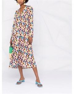 Платье с V образным вырезом и геометричным принтом La doublej