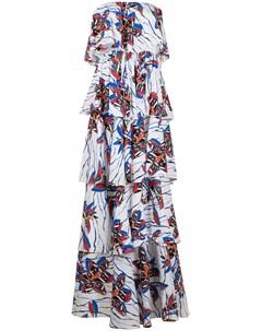Ярусное платье без бретелей с цветочным принтом Stella jean