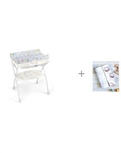 Пеленальный столик Volare с ванночкой 243 и Пеленка Mjolk Кокосы Hello mommy 120х85 см Cam