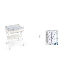 Пеленальный столик Volare с ванночкой 243 и Пеленка Mjolk Черешня Звёзды 80х80 см Cam