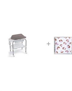 Пеленальный столик bio с ванночкой 246 и муслиновая пеленка Mjolk Леопард 80x80 см Cam