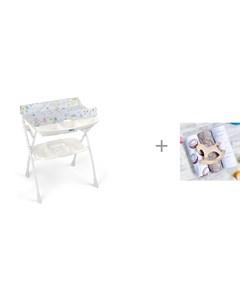 Пеленальный столик Volare с ванночкой 243 и Пеленка Mjolk Palm Tree Кокосы Hello mommy 120х85 см Cam