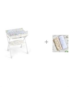 Пеленальный столик Volare с ванночкой 243 и Пеленка Mjolk Солнышки Hello Mommy 120х85 см Cam