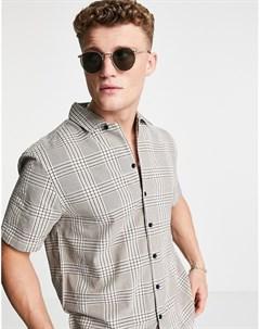 Серая рубашка в клетку с короткими рукавами River island
