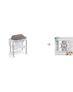 Пеленальный столик bio с ванночкой 246 и Пеленка Mjolk Хлопок Palm Tree Hello mommy 120х85 см Cam