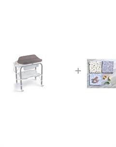 Пеленальный столик bio с ванночкой 246 и Пеленка Mjolk Кляксы Звезды Palm Tree 80х80 см Cam