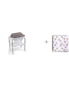 Пеленальный столик bio с ванночкой 246 и муслиновая пеленка Mjolk Персики 80x80 см Cam
