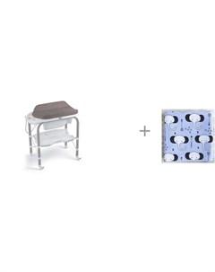 Пеленальный столик bio с ванночкой 246 и муслиновая пеленка Mjolk Слоники 110x110 см Cam