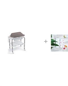 Пеленальный столик bio с ванночкой 246 и Пеленка Mjolk Фламинго Звезды 80х80 см Cam