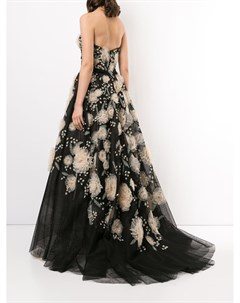 Вечернее платье без бретелей с цветочной вышивкой Marchesa