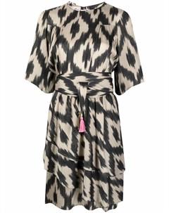 Платье с оборками и абстрактным принтом Bazar deluxe