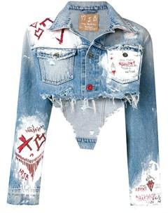 Mjb укороченная джинсовая куртка с принтом краски Mjb