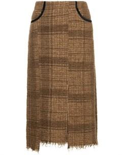 08sircus твидовая юбка миди 1 коричневый