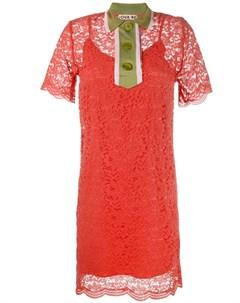 Jour ne кружевное платье мини с контрастным воротником Jour/né