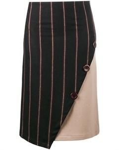 Jour ne прямая асимметричная юбка в полоску 36 черный Jour/né