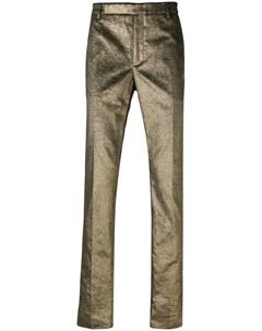 saint laurent строгие брюки с эффектом металлик Saint laurent
