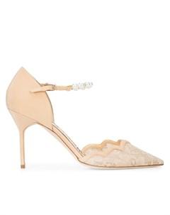 Marchesa туфли с кружевным носом и жемчужинами на ремешке 35 5 нейтральные цвета Marchesa