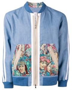Ermanno gallamini куртка бомбер с вышивкой l синий Ermanno gallamini