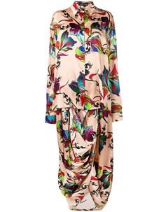 Barbara bologna длинное платье с драпировкой нейтральные цвета Barbara bologna