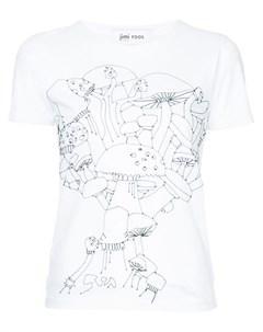 Jimi roos футболка с вышитыми грибами Jimi roos