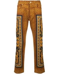 versace брюки кроя слим с леопардовым принтом Versace
