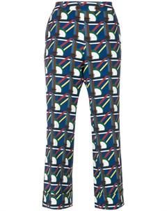 Pardens укороченные брюки с геометрическим узором 40 синий Pardens