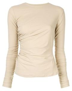 Irene футболка с длинными рукавами и сборкой нейтральные цвета Irene