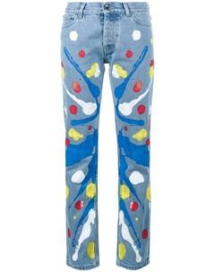 Mirco gaspari прямые джинсы с принтом краски 29 синий Mirco gaspari