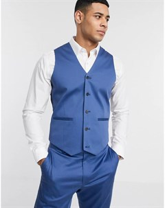 Синий приталенный жилет из эластичного хлопка wedding Asos design