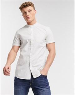 Рубашка с короткими рукавами воротником с застежкой на пуговицах и сплошным принтом Denim Tom tailor