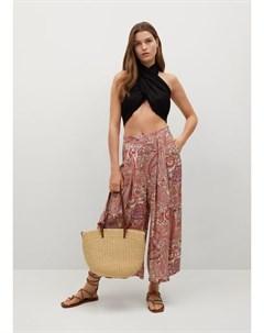 Струящиеся брюки с принтом Sitges Mango