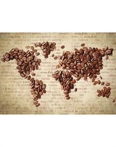 Фотообои Кофейная карта мира 180х127см Decoretto