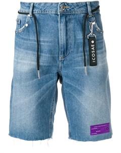 Icosae джинсовые шорты на шнурке с отделкой заклепками Icosae