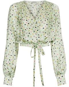Attico блузка с запахом и цветочным принтом 42 зеленый Attico