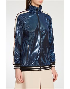 Синяя ламинированная олимпийка Gucci